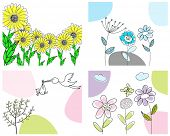 Set of four greeting cards for design use poster