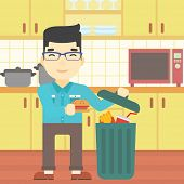 An asian man putting junk food into trash bin. Man refusing to eat junk food. Man throwing junk food on the background of kitchen. Diet concept. Vector flat design illustration. Square layout. poster
