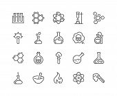 Simple Set of Chemical Related Vector Line Icons. Contains such Icons as Atom, Flask, Experiment, Research, Laboratory and more. Editable Stroke. 48x48 Pixel Perfect. poster
