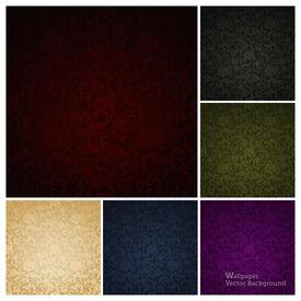 Sem costura de parede de padrão, conjunto de seis cores
