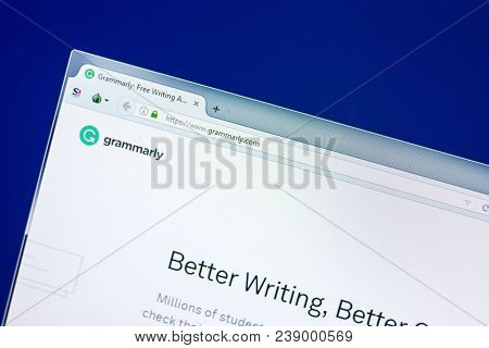 Ryazan, Russia - April 29, 2018: Homepage Of Grammarly Website On The Display Of Pc, Url - Grammarly