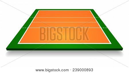 An Illustration Of An Aerial View With Perspective Volleyball Court. Vector Eps 10.