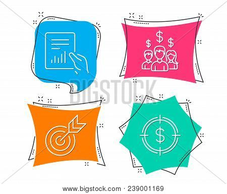 Set Of Target, Document And Salary Employees Icons. Dollar Target Sign. Targeting, File With Diagram