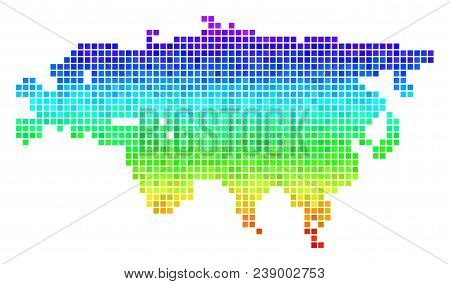 Dot Eurasia Map. Vector Territory Scheme Drawn With Bright Spectral Color Tones With Vertical Gradie