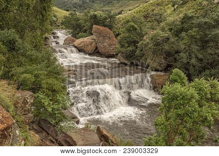 The Cascades In The Mahai River In The Kwazulu-natal Drakensberg Is A Popular Swimming And Picnic Sp