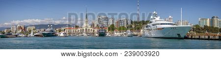 Seaport Is Most Attractive From The Sea. Reflection In Water Complements The Charm Of Architecture A
