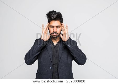 Stressed Businessman With Hands On Head, Facing Setback, Isolated On White Studio Background