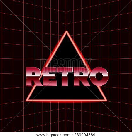 Future Retro Line Background Of The 80s. Vector Futuristic Synth Retro Wave Illustration In 1980s Po