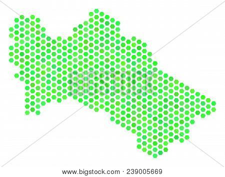 Fresh Green Turkmenistan Map. Vector Honeycomb Territorial Scheme Drawn With Green Color Tones. Abst