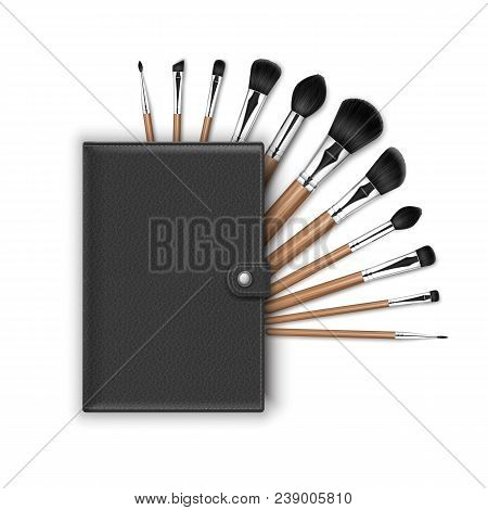 Vector Set Of Black Clean Professional Makeup Concealer Powder Blush Eye Shadow Brow Brushes With Wo