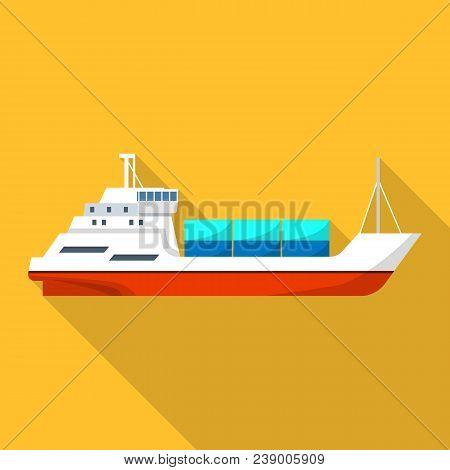 Passenger Cargo Ship Icon. Flat Illustration Of Passenger Cargo Ship Vector Icon For Web Design