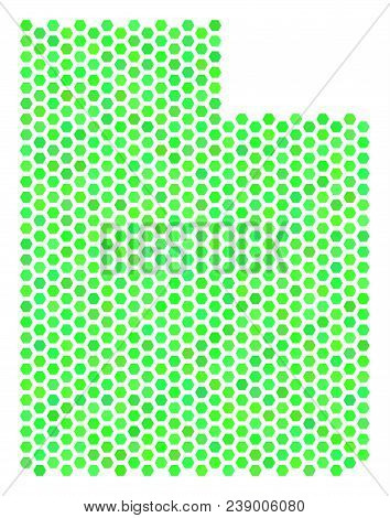 Green Utah State Map. Vector Honeycomb Territory Plan Drawn With Green Color Shades. Abstract Utah S