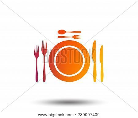 Plate Dish With Forks And Knifes. Dessert Trident Fork With Teaspoon. Eat Sign Icon. Cutlery Etiquet