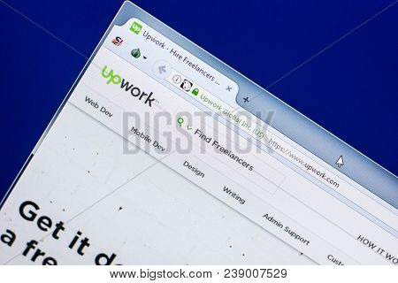 Ryazan, Russia - April 29, 2018: Homepage Of Upwork Website On The Display Of Pc, Url - Upwork.com.