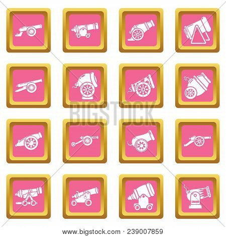 Cannon Retro Icons Set Vector Pink Square Isolated On White Background