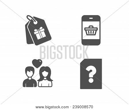 Set Of Couple Love, Smartphone Buying And Coupons Icons. Unknown File Sign. People In Love, Website