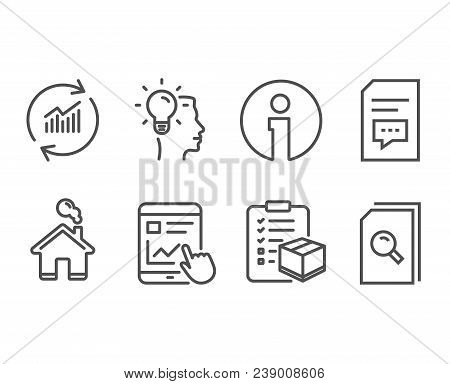 Set Of Internet Report, Idea And Parcel Checklist Icons. Comments, Update Data And Search Files Sign