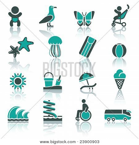 Recreation Vacation & Travel. icons set. Tourism Sport with reflection. poster