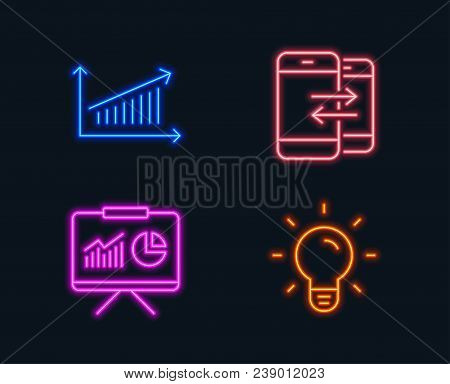 Neon Lights. Set Of Presentation, Chart And Phone Communication Icons. Light Bulb Sign. Board With C