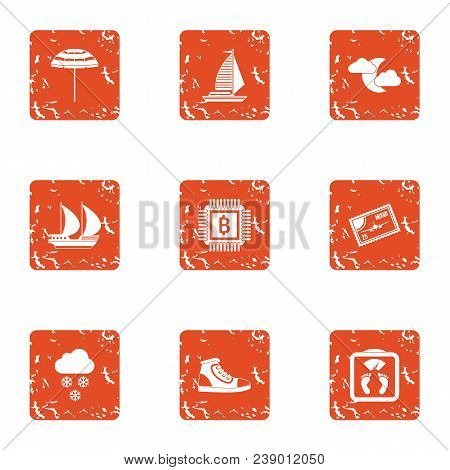 Expedition Icons Set. Grunge Set Of 9 Expedition Vector Icons For Web Isolated On White Background