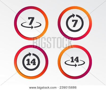 Return Of Goods Within 7 Or 14 Days Icons. Warranty 2 Weeks Exchange Symbols. Infographic Design But