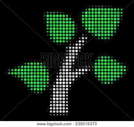 Flora Plant Halftone Vector Icon. Illustration Style Is Pixelated Iconic Flora Plant Symbol On A Bla