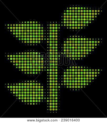 Flora Plant Halftone Vector Icon. Illustration Style Is Dot Iconic Flora Plant Symbol On A Black Bac
