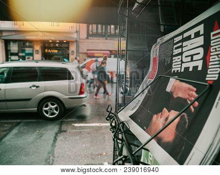 Strasbourg, France - Sep 12, 2018: Macron Portrait On Liberation Newspaper On Sale At Kiosk With Peo