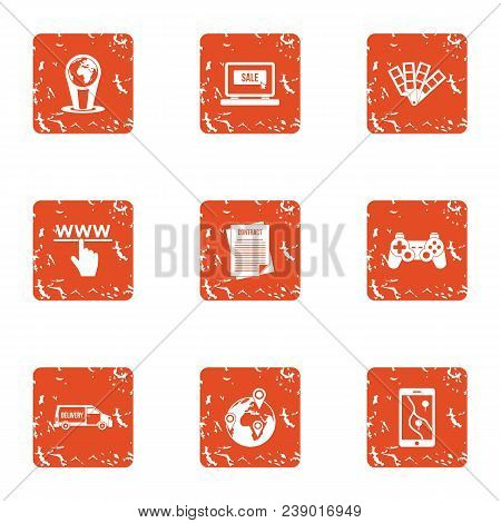 Www Deal Icons Set. Grunge Set Of 9 Www Deal Vector Icons For Web Isolated On White Background