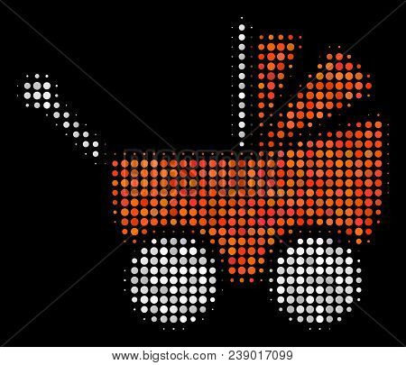 Baby Carriage Halftone Vector Icon. Illustration Style Is Dot Iconic Baby Carriage Symbol On A Black