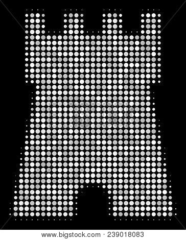 Bulwark Tower Halftone Vector Icon. Illustration Style Is Dot Iconic Bulwark Tower Symbol On A Black