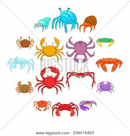 Colorful Crab Icons Set. Cartoon Illustration Of 16 Colorful Crab Vector Icons For Web