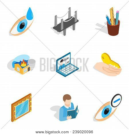 Industrial Commercial Icons Set. Isometric Set Of 9 Industrial Commercial Vector Icons For Web Isola