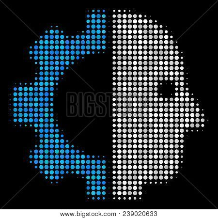 Cyborg Head Halftone Vector Icon. Illustration Style Is Pixel Iconic Cyborg Head Symbol On A Black B