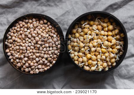 Sprouted And Dry Chickpea In Wooden Bowls On Rustic Linen Textile. Bean Sprouts Raw. Source Of Prote