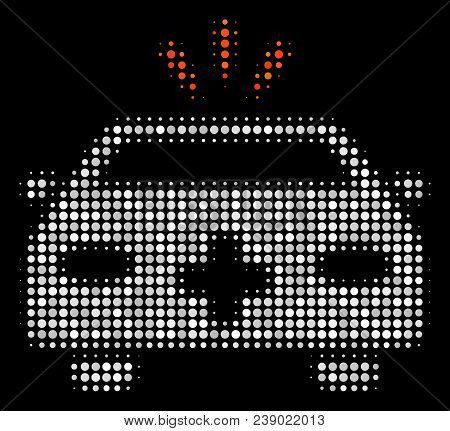 Emergency Car Halftone Vector Icon. Illustration Style Is Pixelated Iconic Emergency Car Symbol On A