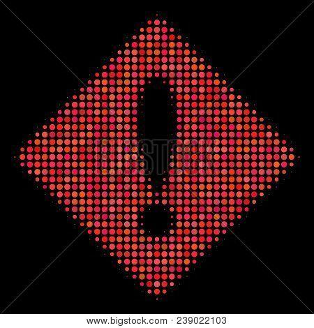 Error Halftone Vector Icon. Illustration Style Is Pixelated Iconic Error Symbol On A Black Backgroun