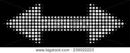 Exchange Arrows Halftone Vector Icon. Illustration Style Is Pixelated Iconic Exchange Arrows Symbol