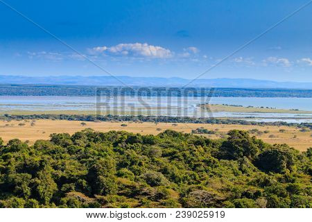 Isimangaliso Wetland Park Landscape, South Africa. Beautiful Panorama From Africa. Safari And Outdoo