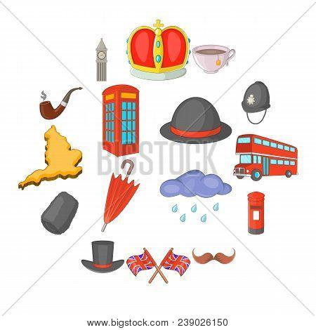 United Kingdom Travel Icons Set. Cartoon Illustration Of 16 United Kingdom Travel Vector Icons For W