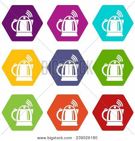 Electric Kettle Icons 9 Set Coloful Isolated On White For Web