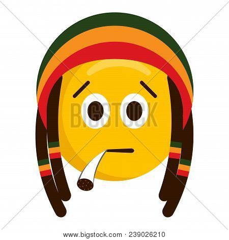 Serious Emoji Smoking With A Reggae Hat. Vector Illustration Design