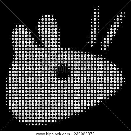Mouse Head Halftone Vector Icon. Illustration Style Is Dot Iconic Mouse Head Symbol On A Black Backg