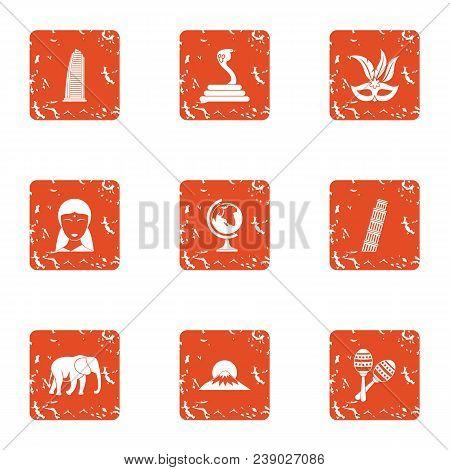 Tourist Entertainment Icons Set. Grunge Set Of 9 Tourist Entertainment Vector Icons For Web Isolated