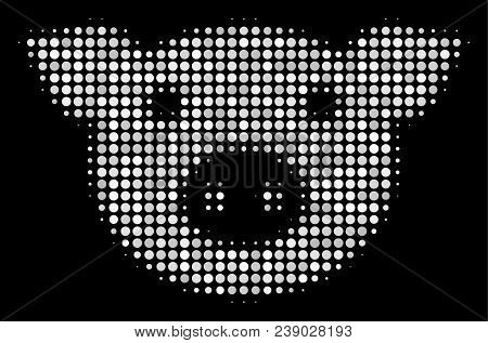 Pig Head Halftone Vector Icon. Illustration Style Is Dot Iconic Pig Head Symbol On A Black Backgroun