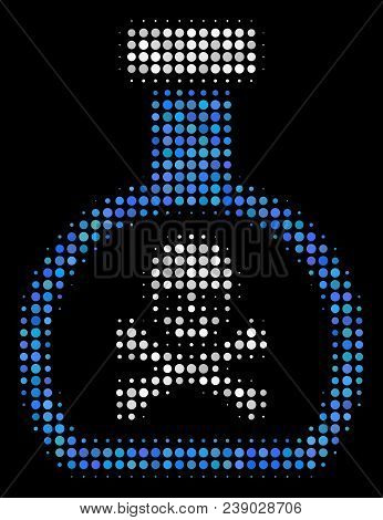 Poison Retort Halftone Vector Icon. Illustration Style Is Pixel Iconic Poison Retort Symbol On A Bla
