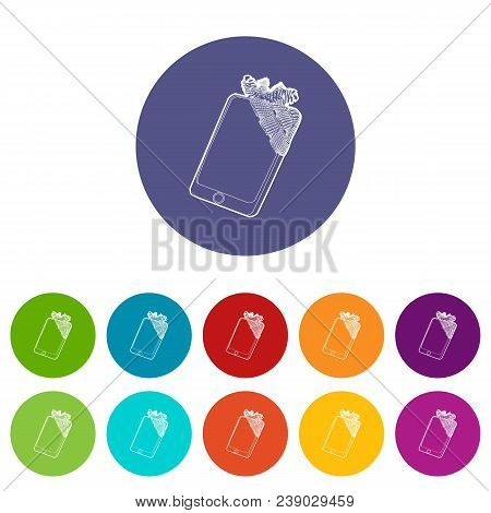 Gadget In Glued Reparation Icon. Outline Illustration Of Gadget In Glued Reparation Vector Icon For