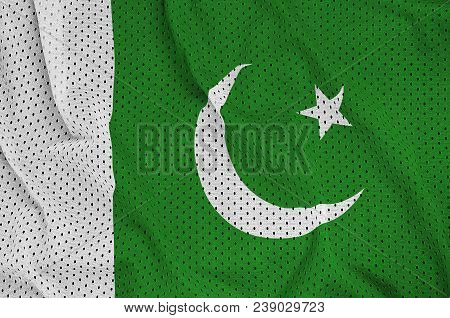 Pakistan Flag Printed On A Polyester Nylon Sportswear Mesh Fabric With Some Folds