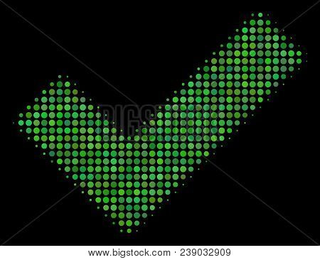 Yes Halftone Vector Icon. Illustration Style Is Pixelated Iconic Yes Symbol On A Black Background. H
