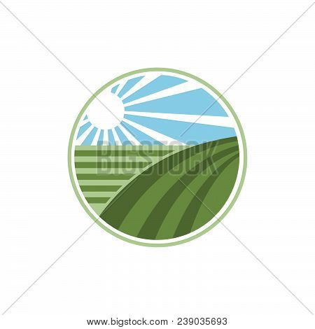 Farm Fresh Products Unique Sign Or Icon Image. Organic Farming Logo Design Idea. Agriculture Logo De